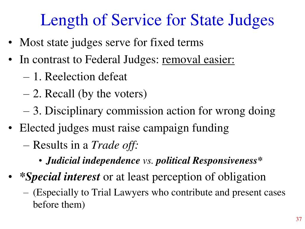 Length of Service for State Judges