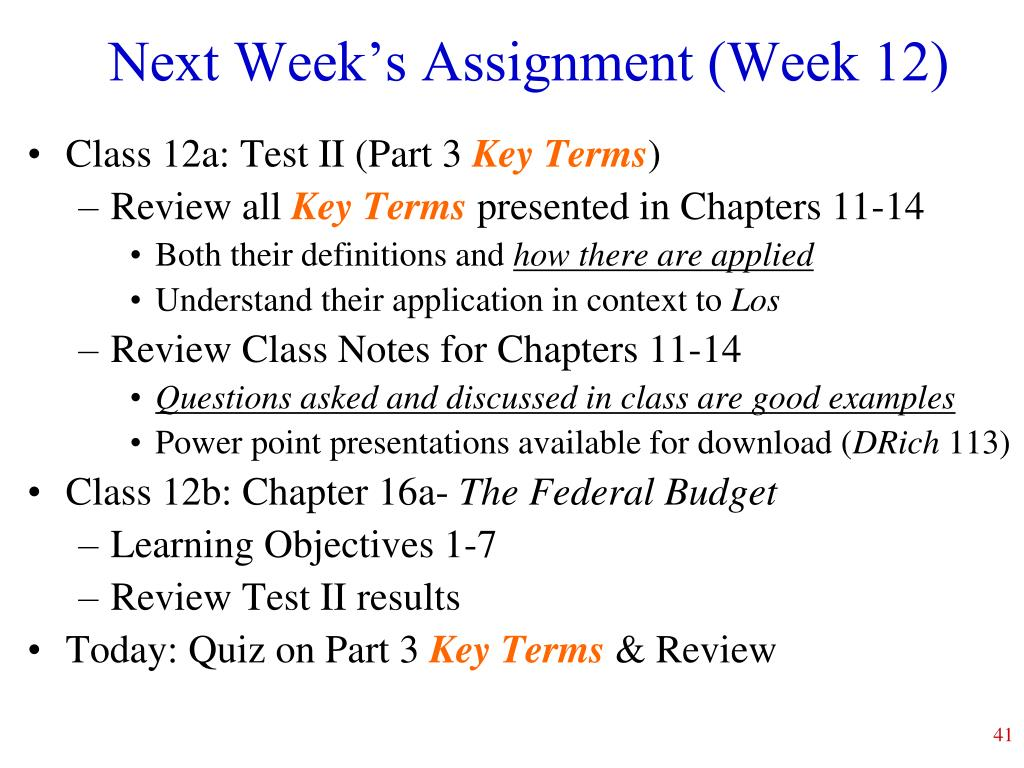 Next Week's Assignment (Week 12)