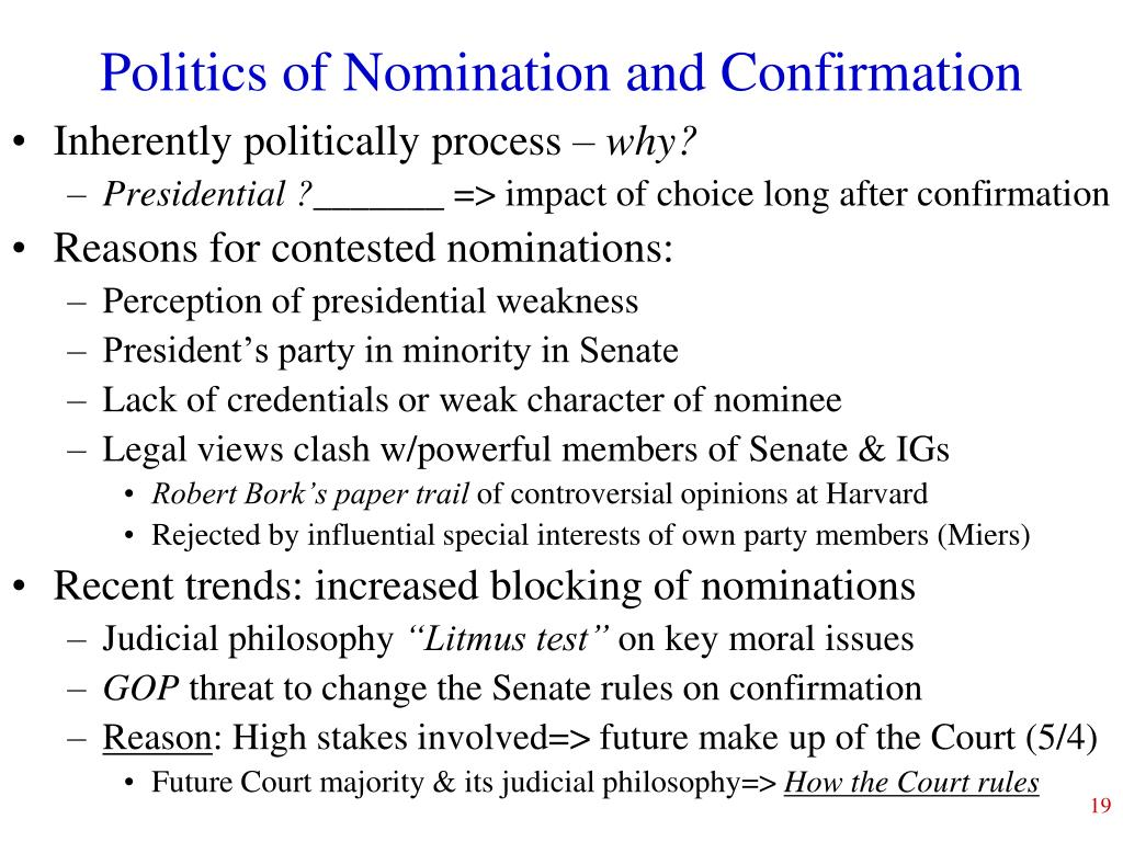 Politics of Nomination and Confirmation
