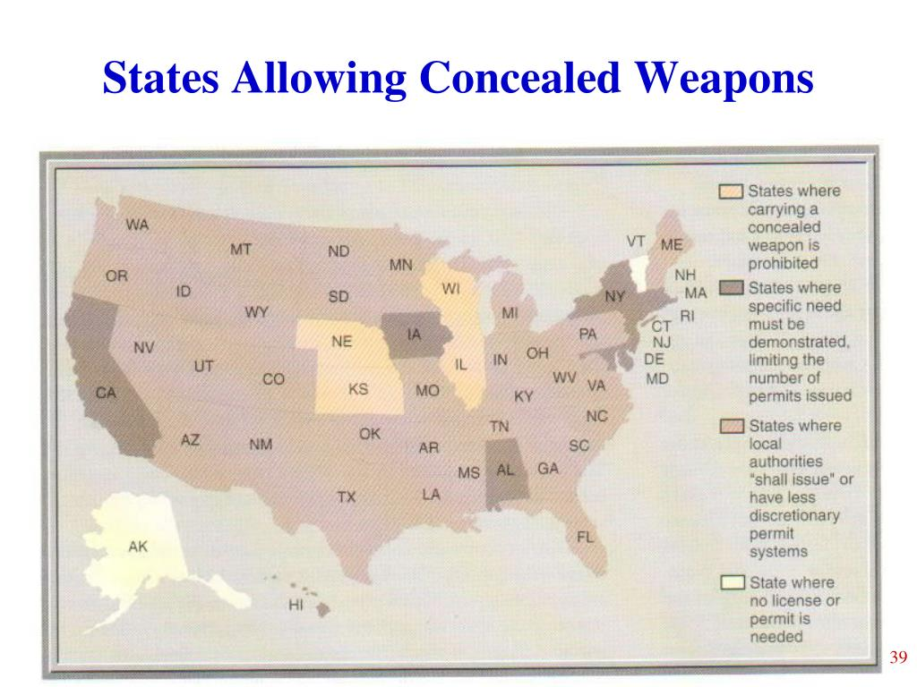 States Allowing Concealed Weapons