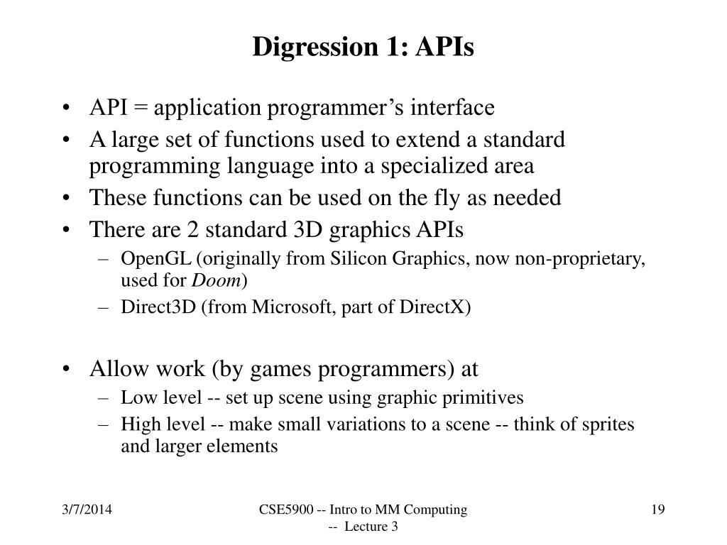 Digression 1: APIs