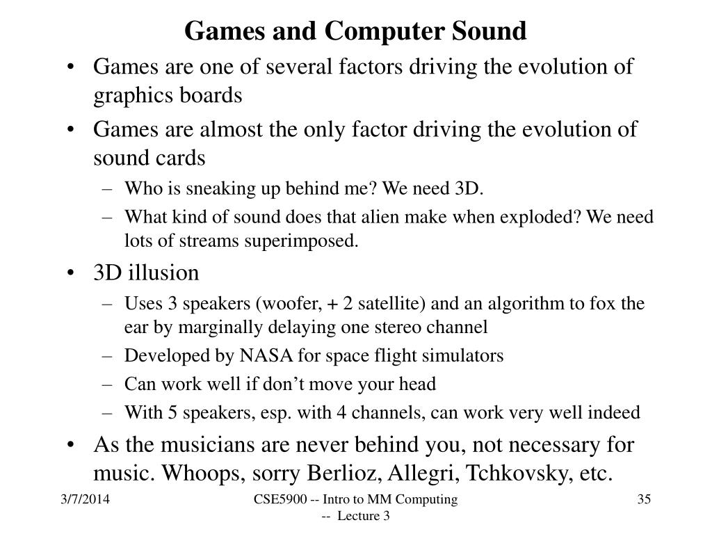 Games and Computer Sound