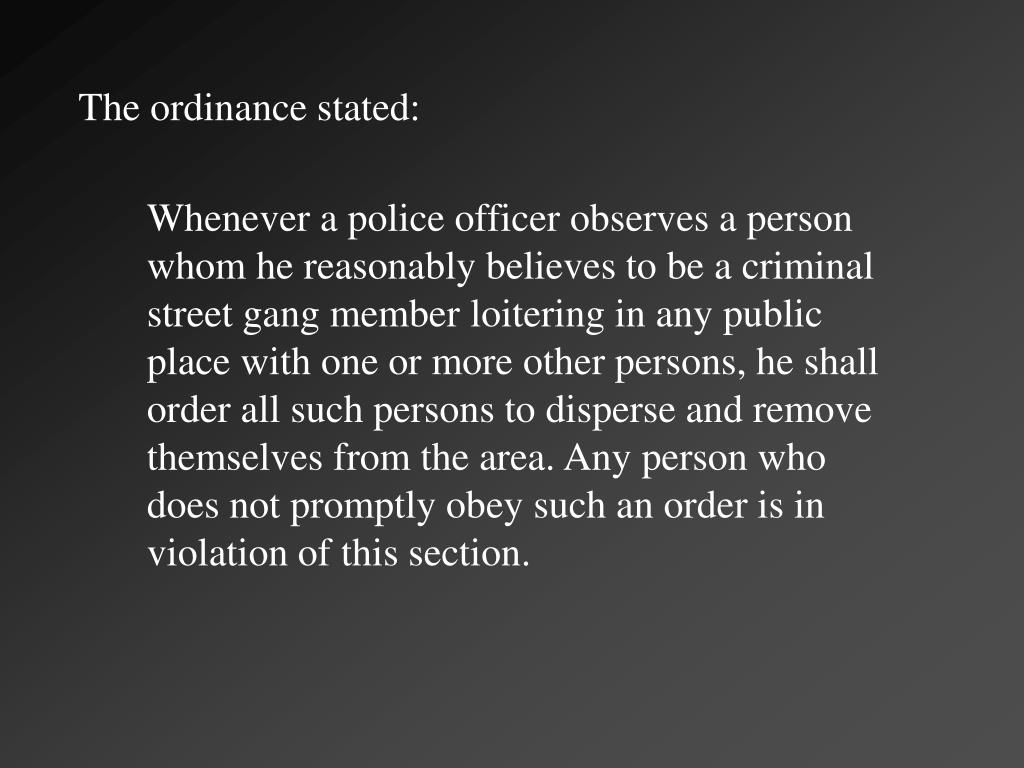 The ordinance stated:
