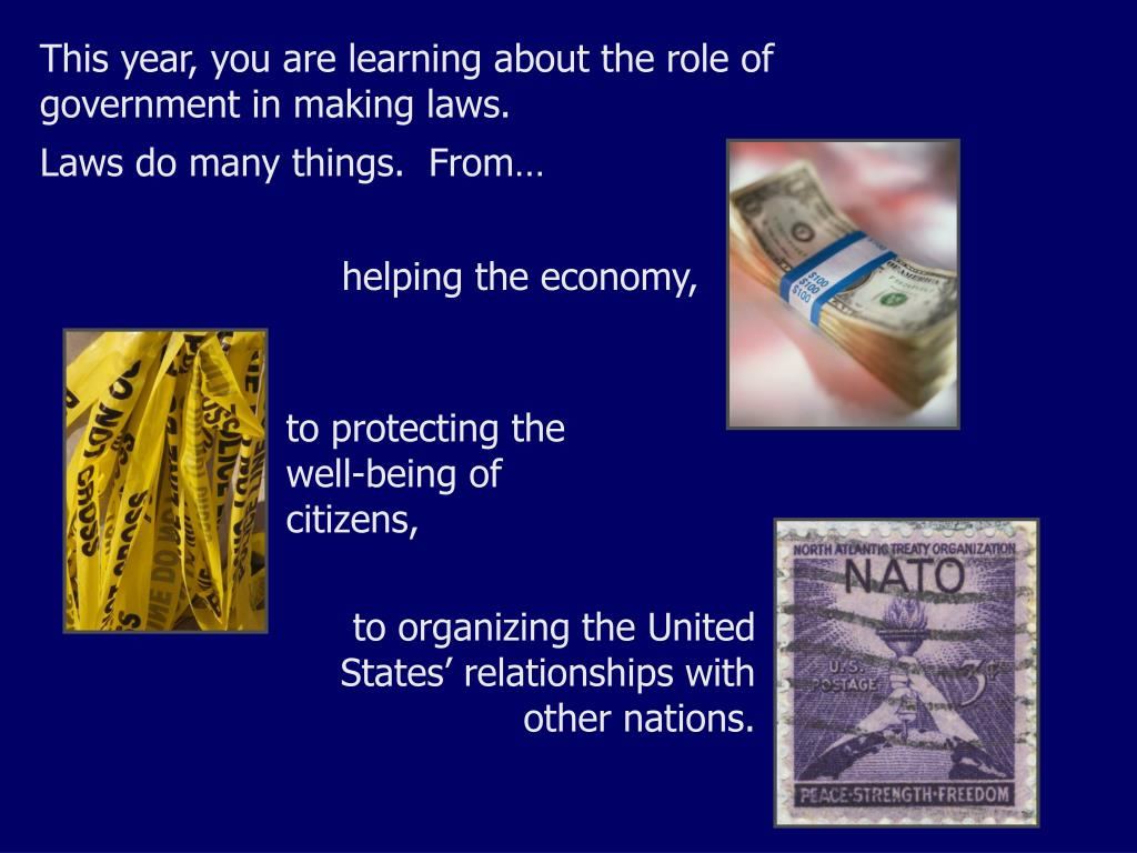 This year, you are learning about the role of government in making laws.