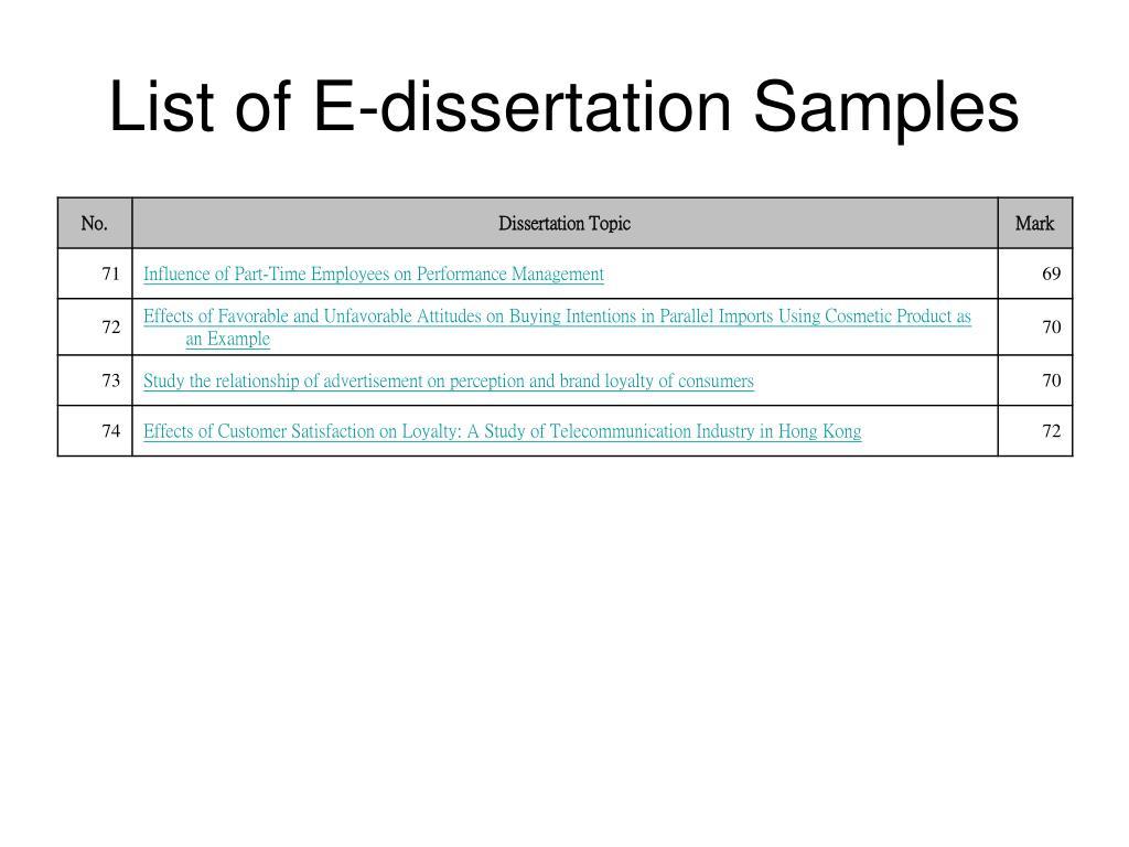 List of E-dissertation Samples