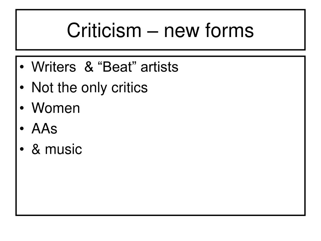 Criticism – new forms