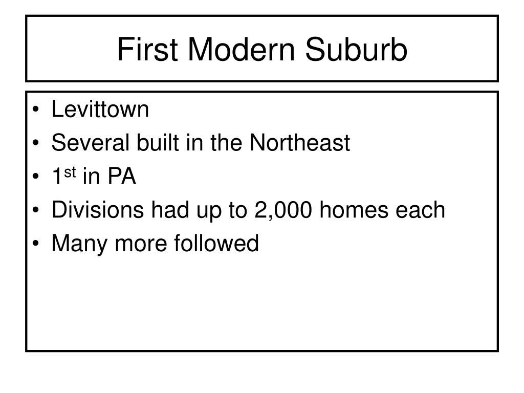 First Modern Suburb