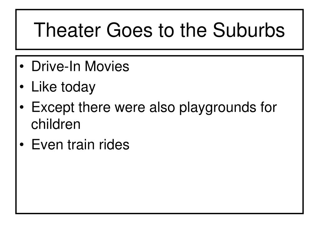 Theater Goes to the Suburbs