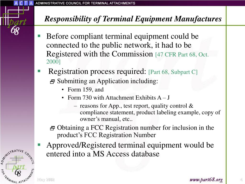 Responsibility of Terminal Equipment Manufactures