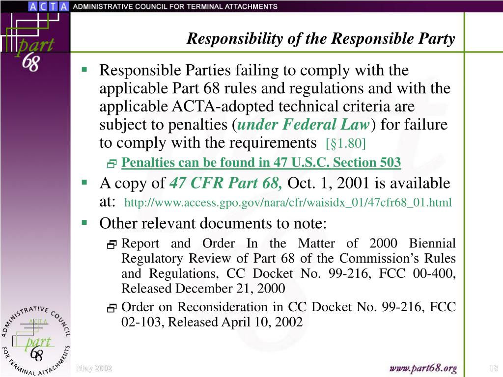 Responsibility of the Responsible Party