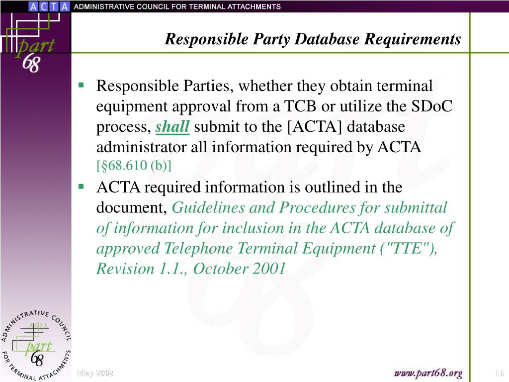 Responsible Party Database Requirements