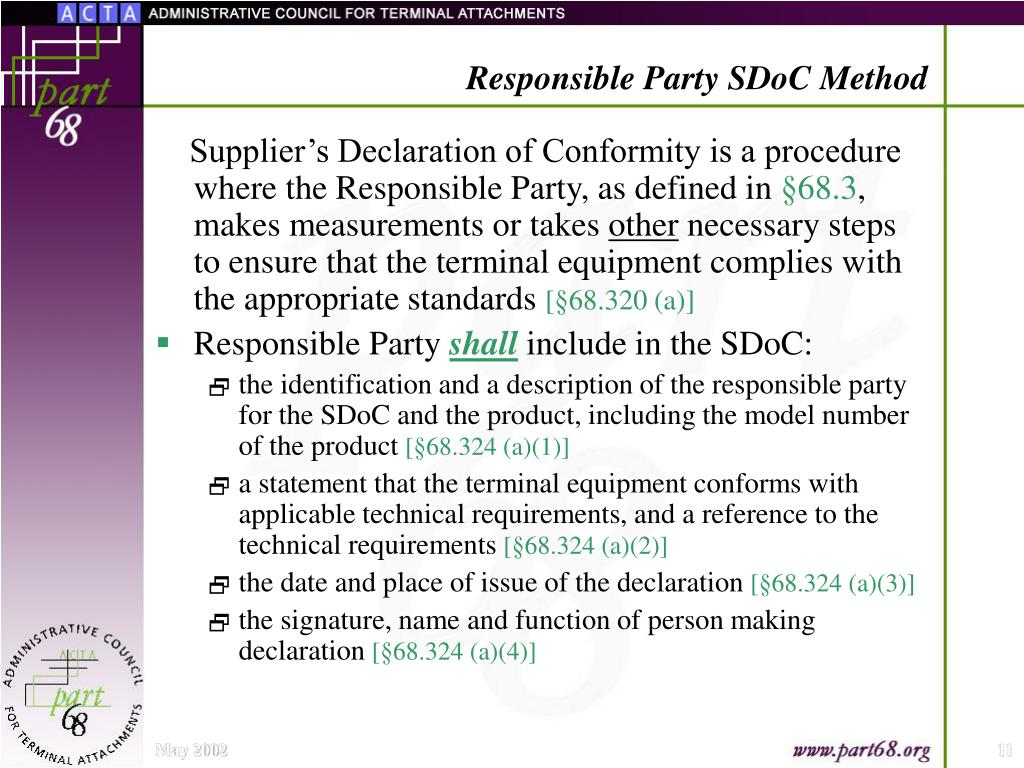 Responsible Party SDoC Method