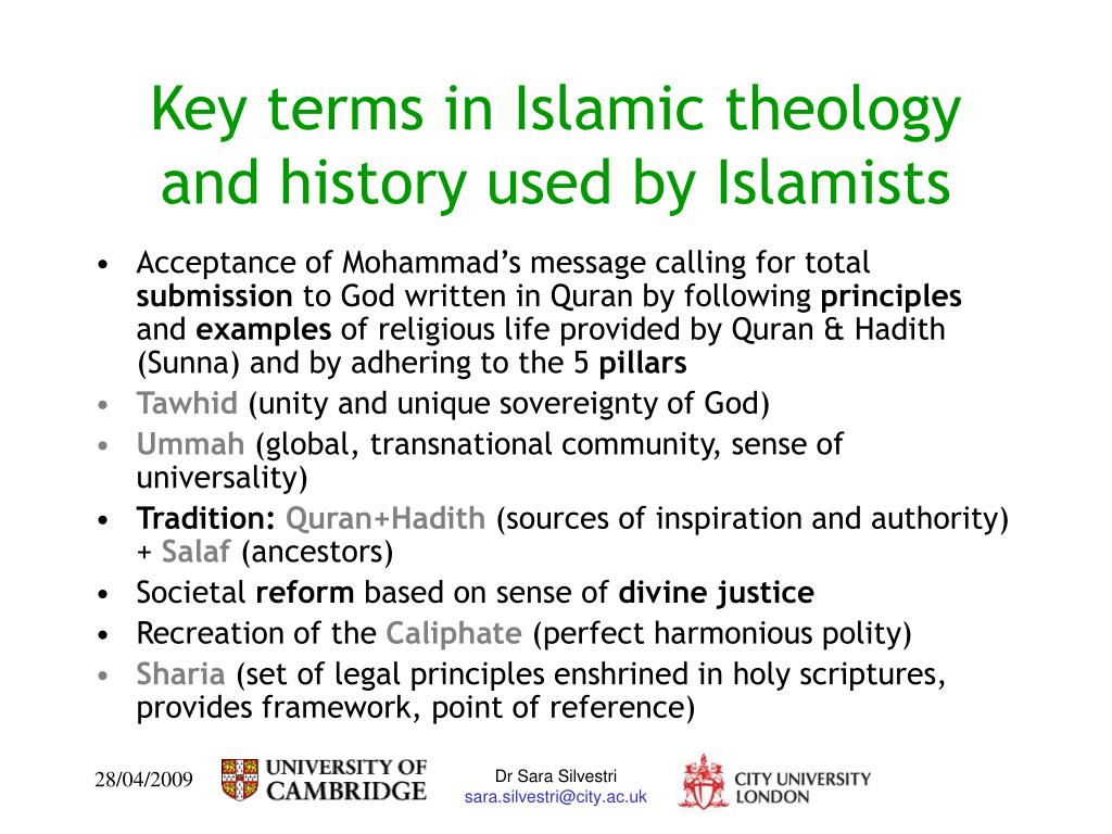 Key terms in Islamic theology and history used by Islamists