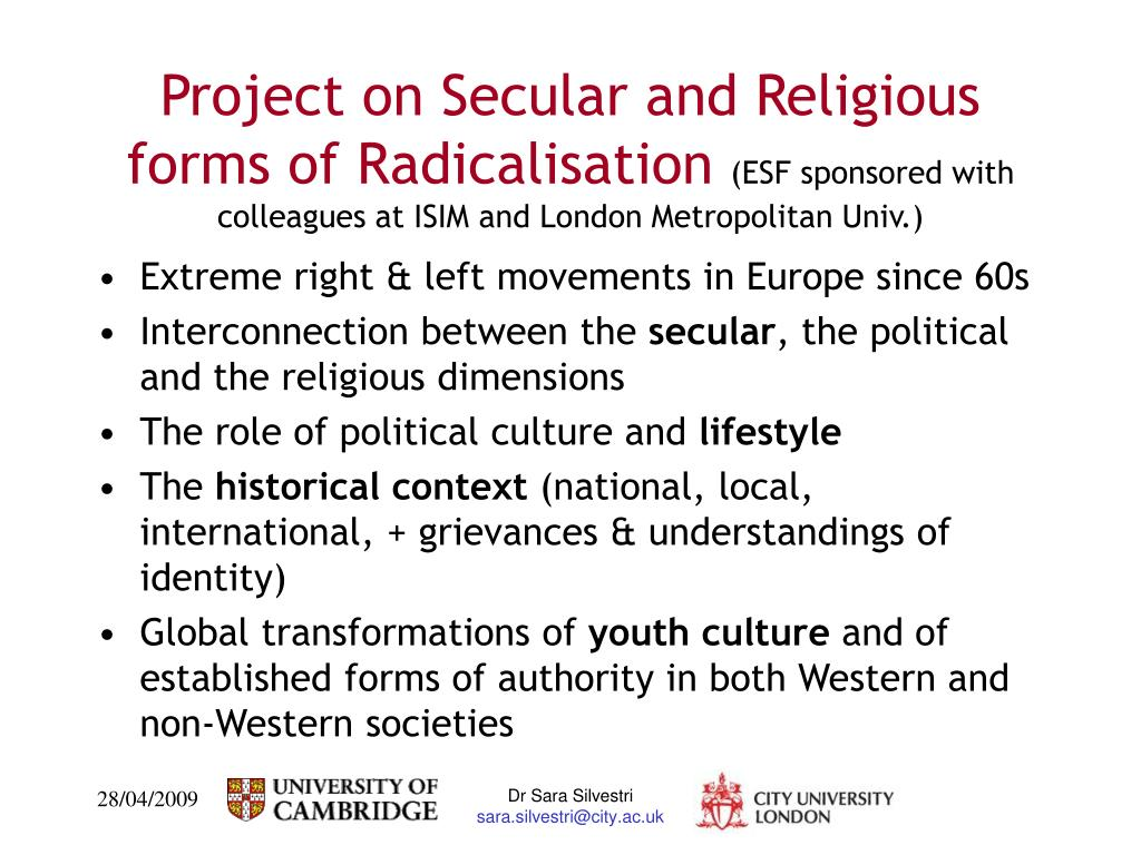 Project on Secular and Religious forms of Radicalisation