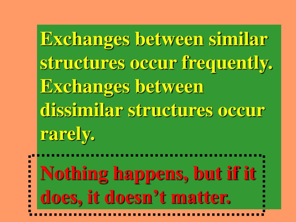 Exchanges between similar structures occur frequently. Exchanges between dissimilar structures occur rarely.