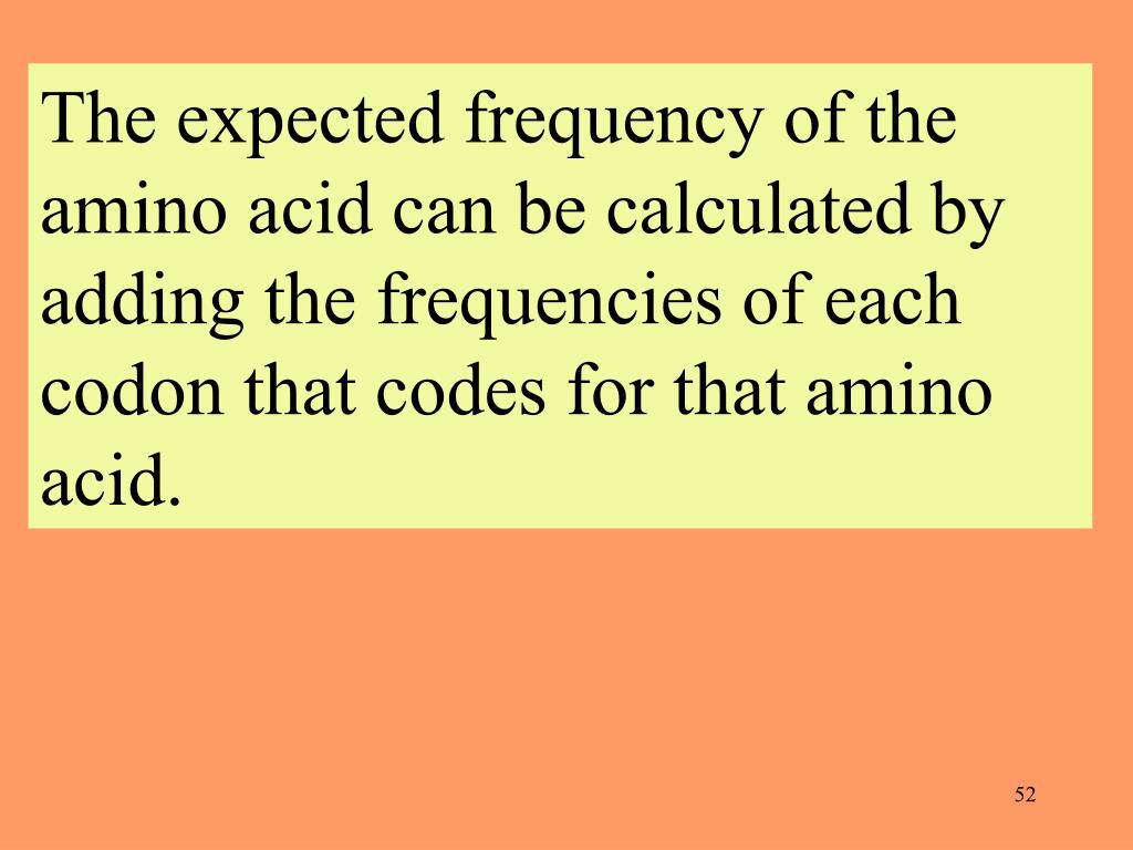 The expected frequency of the amino acid can be calculated by adding the frequencies of each codon that codes for that amino acid.