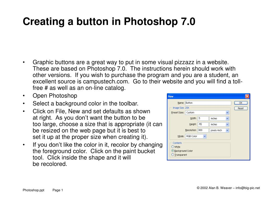 creating a button in photoshop 7 0