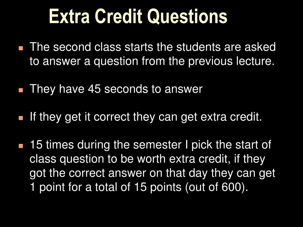 Extra Credit Questions