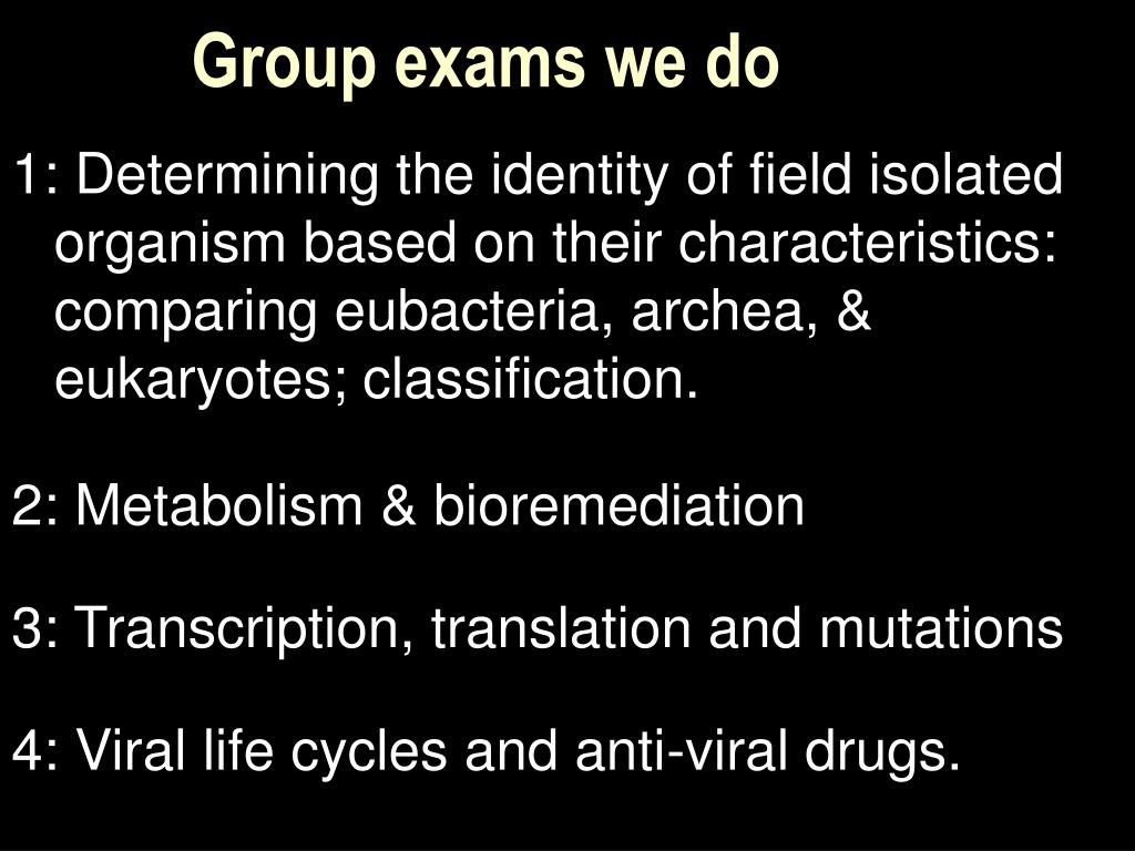 Group exams we do