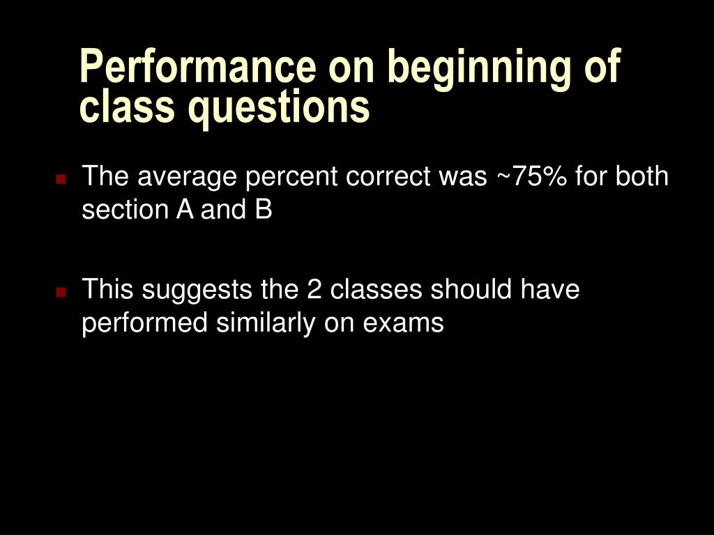 Performance on beginning of class questions