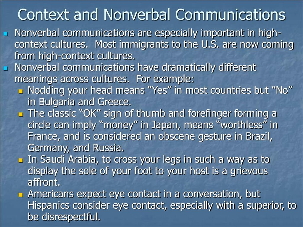 Context and Nonverbal Communications