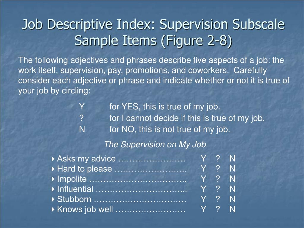 Job Descriptive Index: Supervision Subscale Sample Items (Figure 2-8)