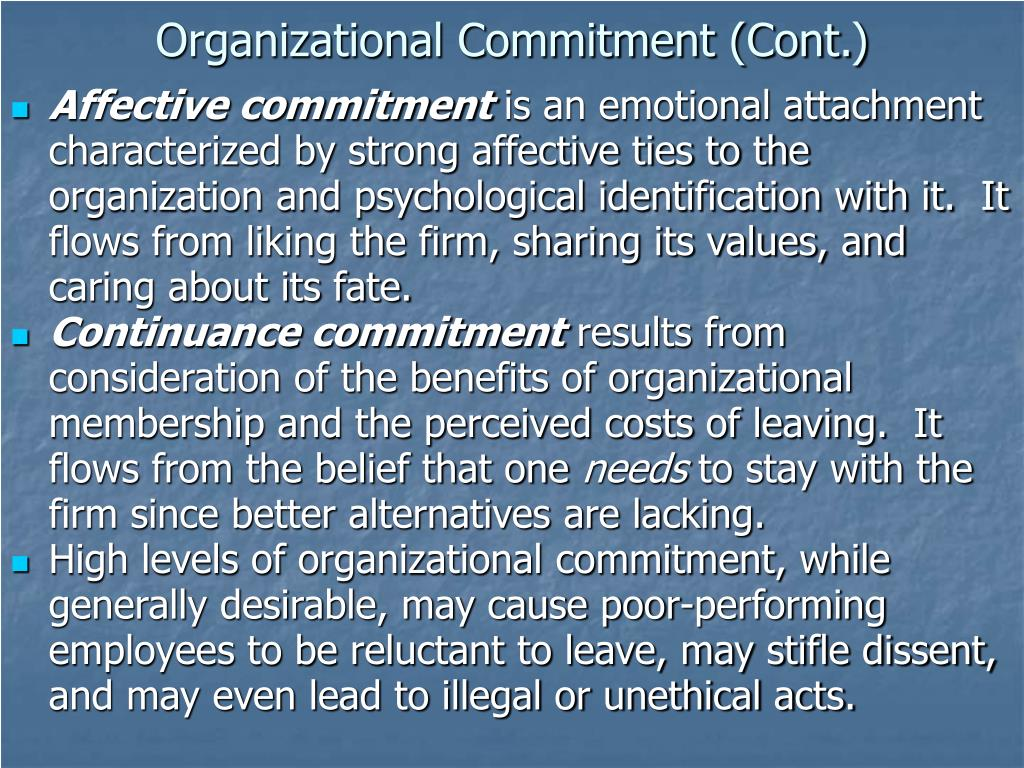 Organizational Commitment (Cont.)