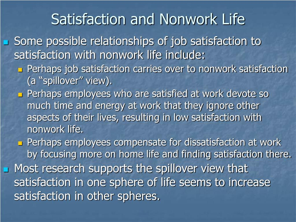 Satisfaction and Nonwork Life