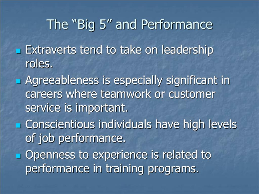 "The ""Big 5"" and Performance"
