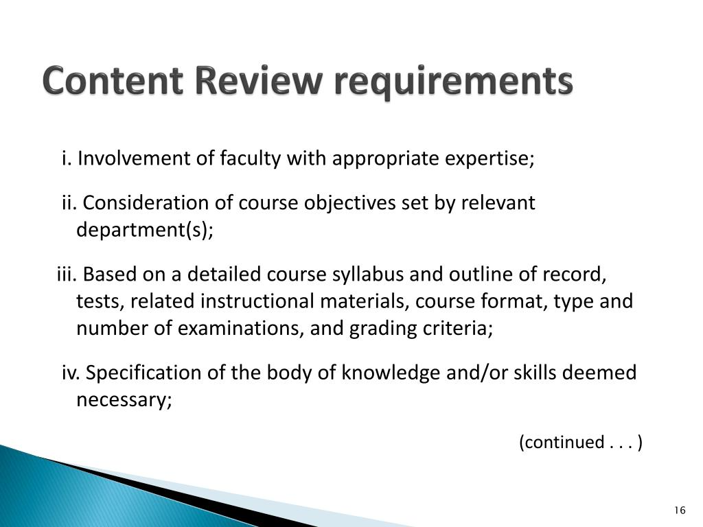 Content Review requirements