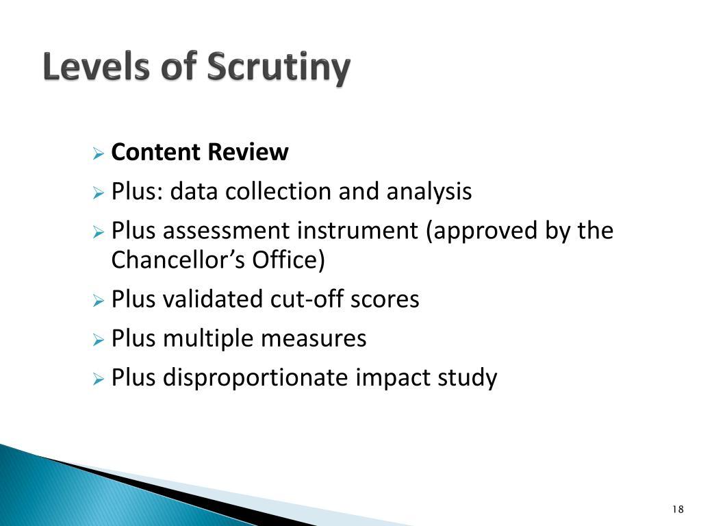 Levels of Scrutiny