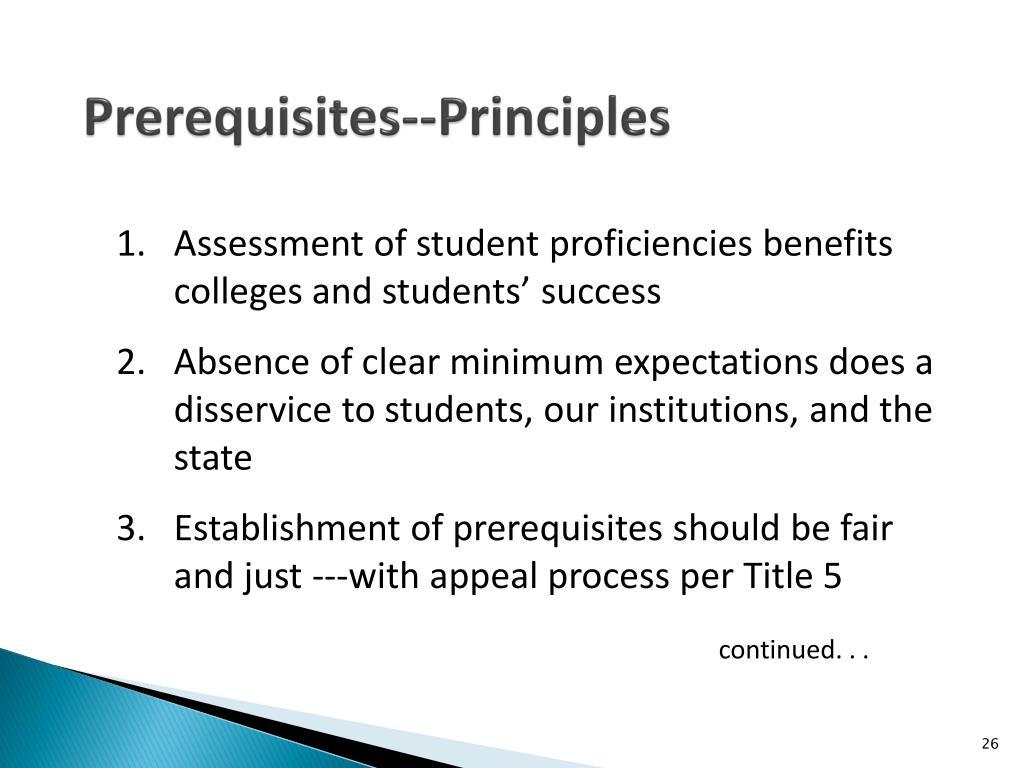 Prerequisites--Principles