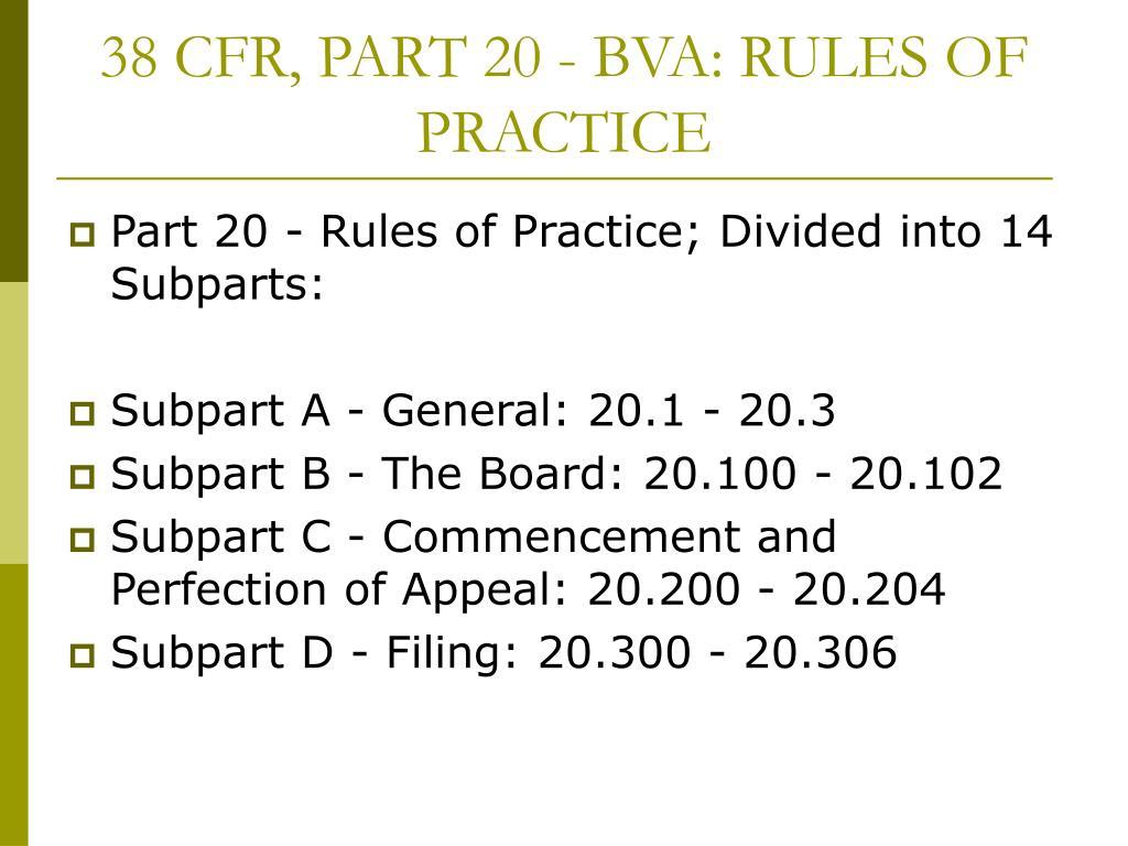 38 CFR, PART 20 - BVA: RULES OF PRACTICE