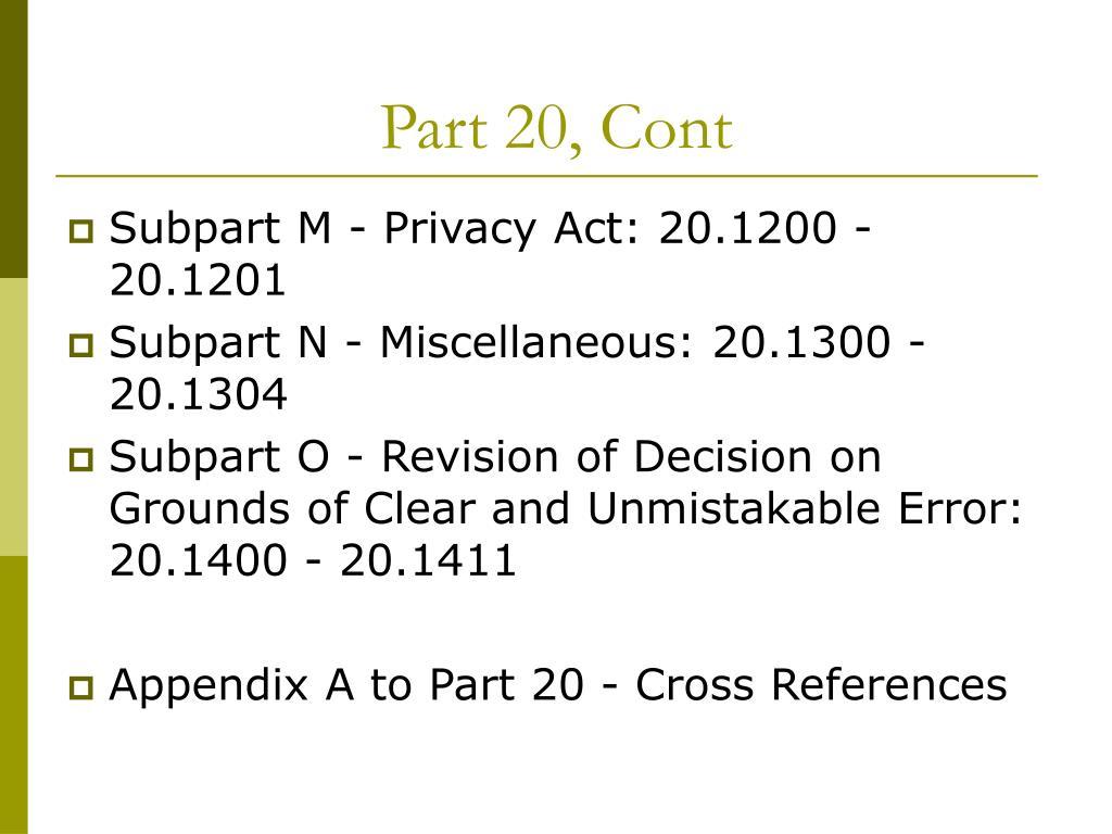 Part 20, Cont