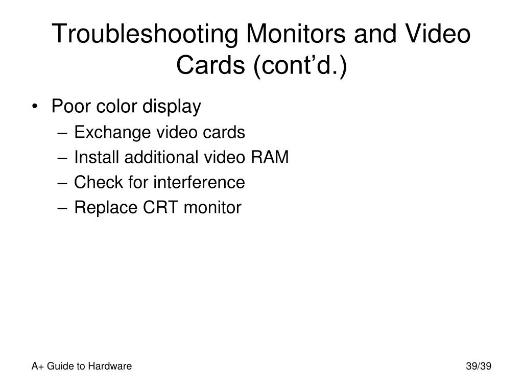 Troubleshooting Monitors and Video Cards (cont'd.)