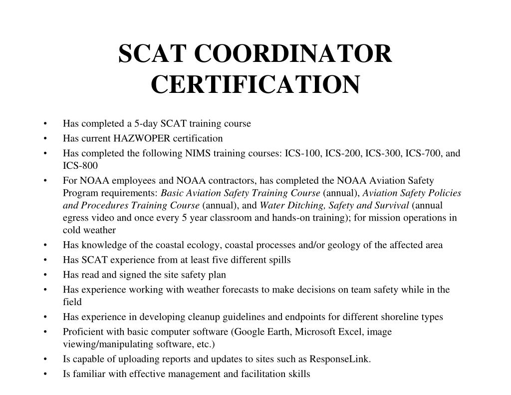 SCAT COORDINATOR CERTIFICATION