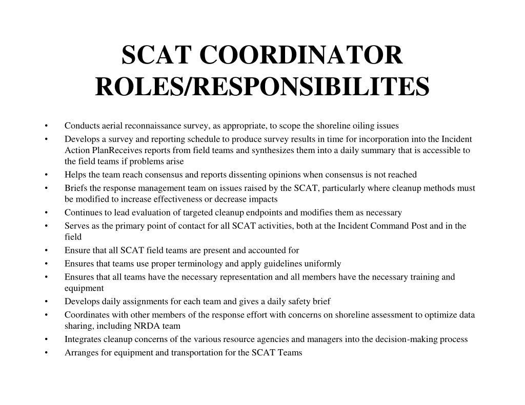 SCAT COORDINATOR ROLES/RESPONSIBILITES