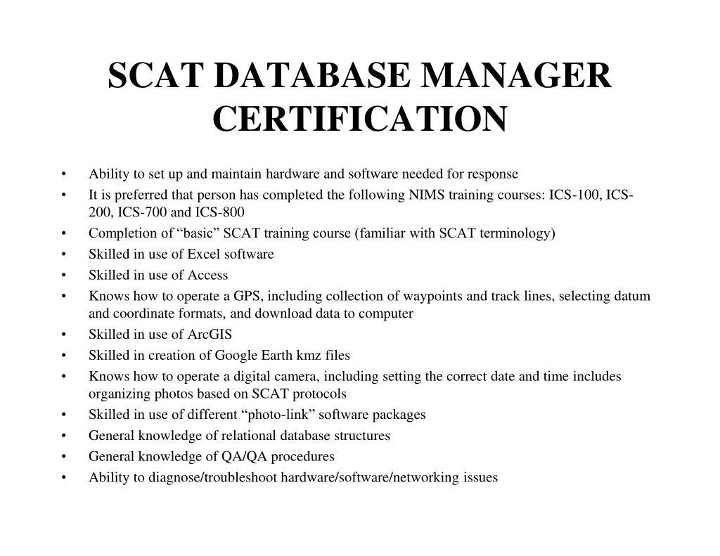 SCAT DATABASE MANAGER CERTIFICATION