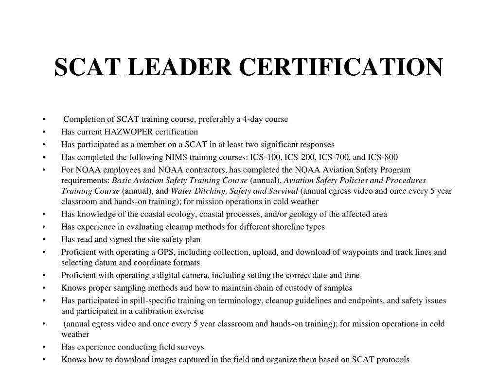 SCAT LEADER CERTIFICATION