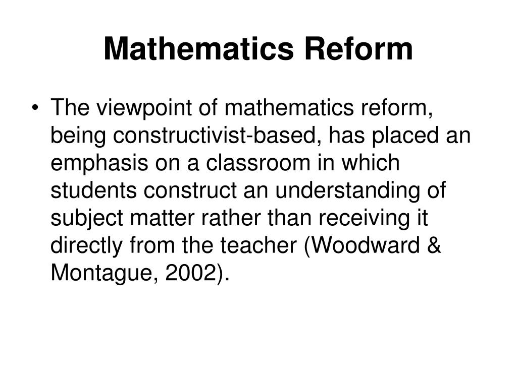 Mathematics Reform