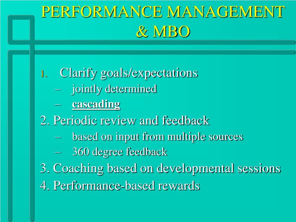 PERFORMANCE MANAGEMENT & MBO
