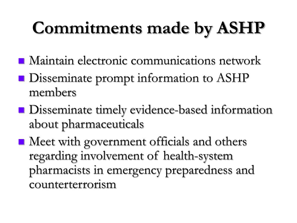 Commitments made by ASHP