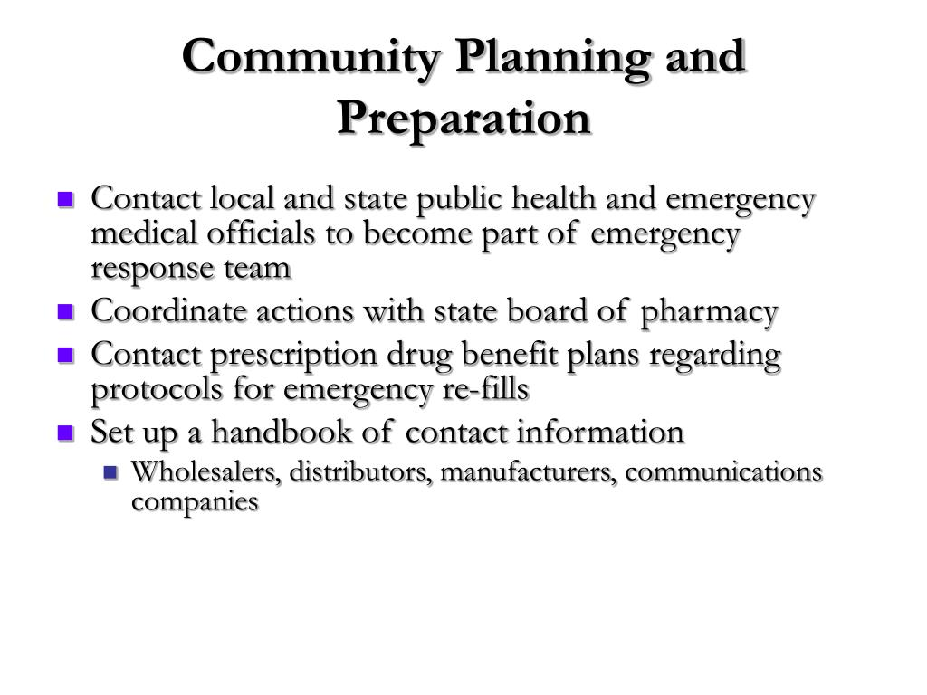 Community Planning and Preparation