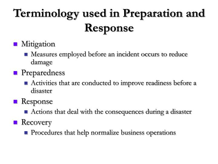 Terminology used in preparation and response