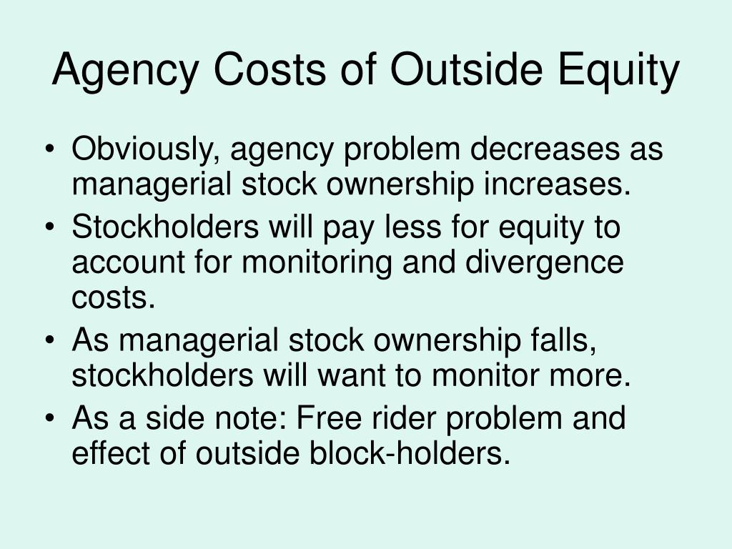 "agency cost Agency and conflicts of interest "" agency costs mainly arise due to contracting costs and the divergence of control, separation of ownership and control."