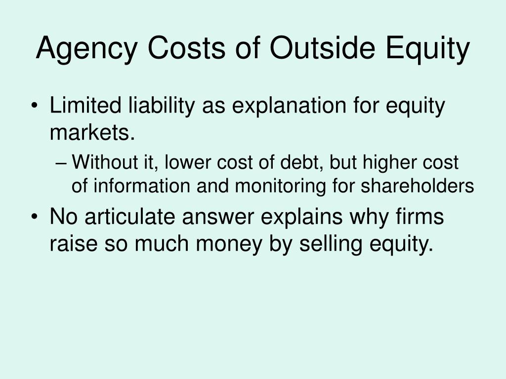agency costs and ownership structure essay Figure 1 indicate the agency costs is divided into two separate components, aso(e) represents the total agency costs of outside equity holders by the owner-manager and ab(e) represents the total agency costs of debt incurred in the ownership structure.