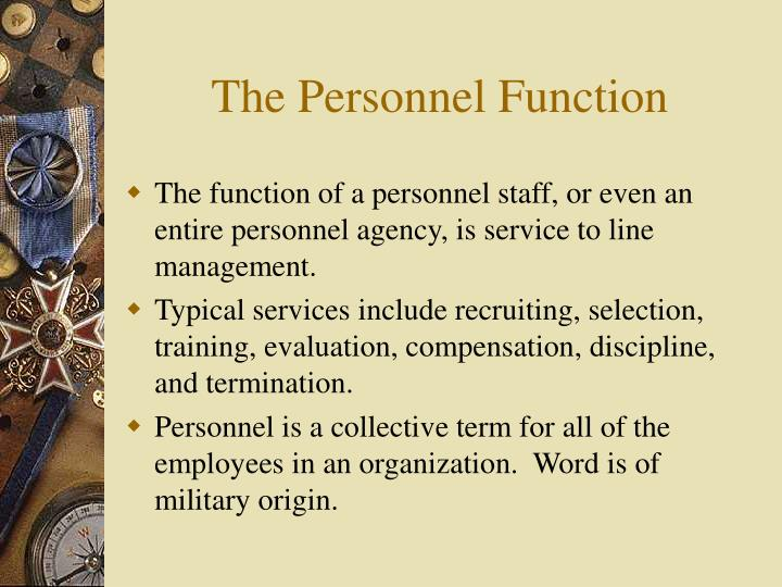 The personnel function
