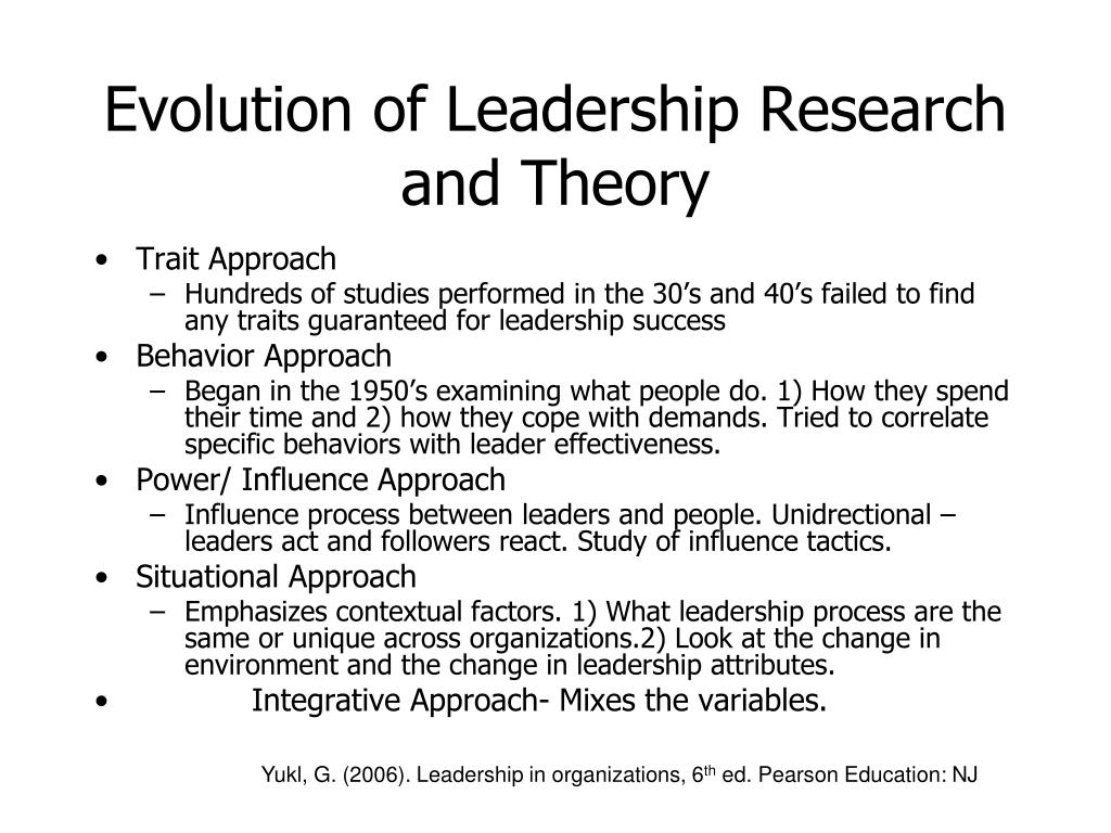 Evolution of Leadership Research and Theory