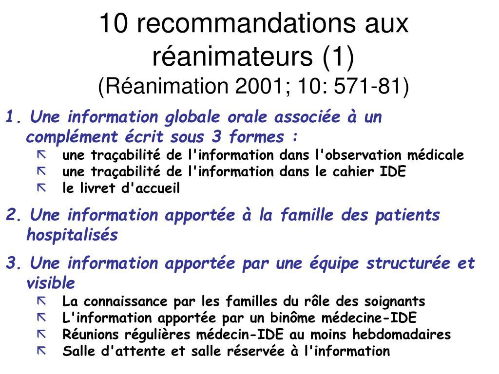 10 recommandations aux réanimateurs (1)