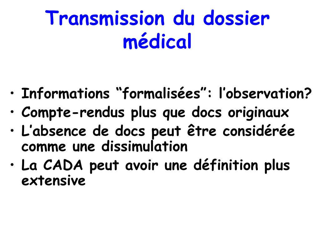 Transmission du dossier médical